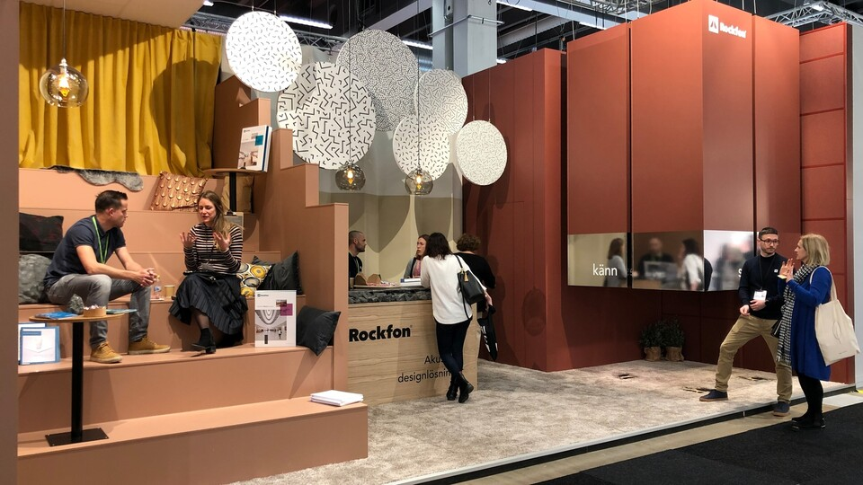 news article illustration, stockholm furniture fair, sff, 2019, rockfon stand, stockholm, sweden, tradeshow, SE