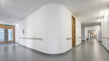 Southmead Hospital,UK,Bristol, 110,000m2 installed in total by CCP (not all ROCKFON), Main Contractor - Carillion, North Bristol NHS Trust, Carlton Ceilings & Partitions, Slough, Julian James, MediCare Standard, E-edge, 1800 x 600, White, Rocklink 24