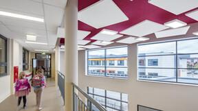 Primary School, Gdańsk, Poland, 10000 m2, Architect studio: PRACOWNIA INWESTPROJ, City Gdansk, EBUD Przemysłówka Bydgoszcz, Bartosz Makowski, ROCKFON Eclipse, 1160x1160, white, ROCKFON Sonar, A24, 1200x600, 1800x600