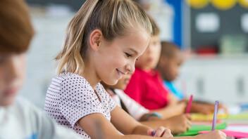 school, pupils, kids, school children, young girl, writing, pen, paper, class room, people, education